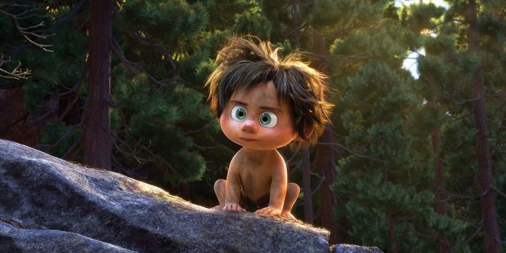 Spot from Pixar's The Good Dinosaur looking sternly at something, movies