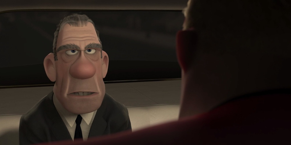Rick Dicker from Pixar's Incredibles 2 talking in a car, movies