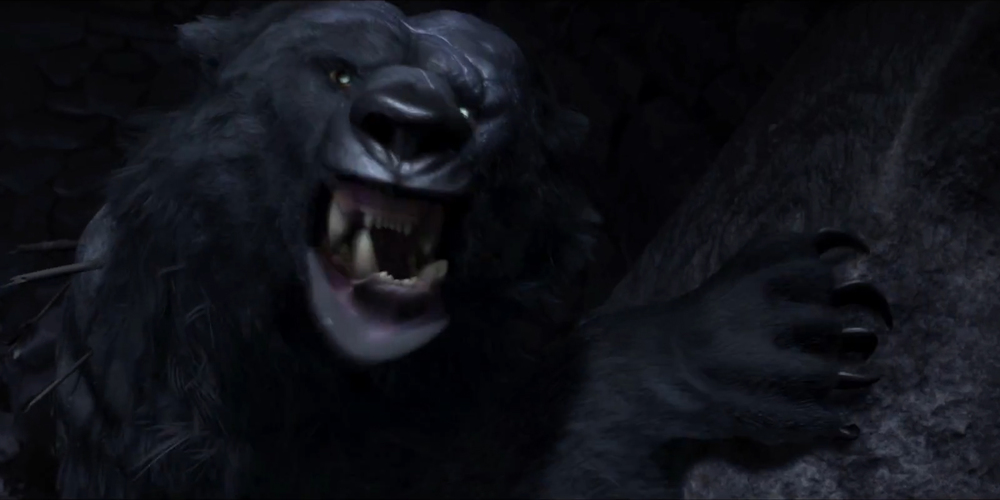 Mor'du from Pixar's Brave looking menacingly at the viewer, movies