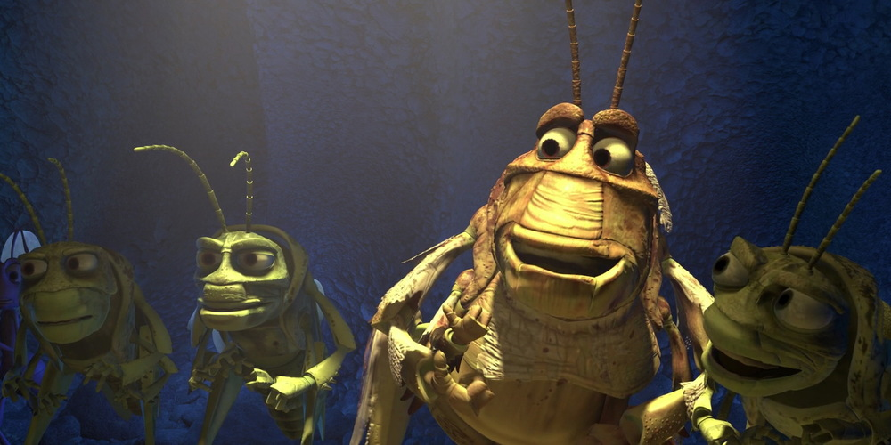 Molt from Pixar's A Bug's Life laughing with some friends, movies