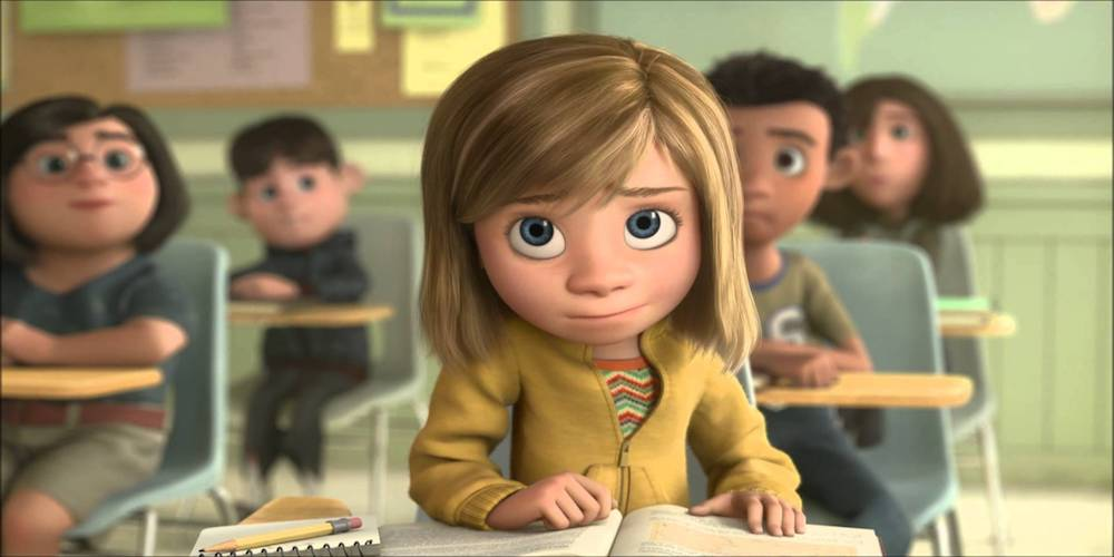 Riley from Pixar's Inside Out in school, movies