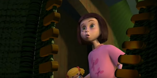 Hannah from Pixar's Toy Story holding a doll, movies