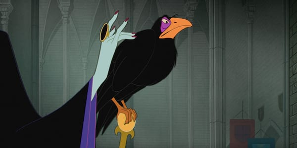 Diablo the crow from Disney's Sleeping Beauty sits on Maleficent's staff and looks on with narrowed eyes, movies