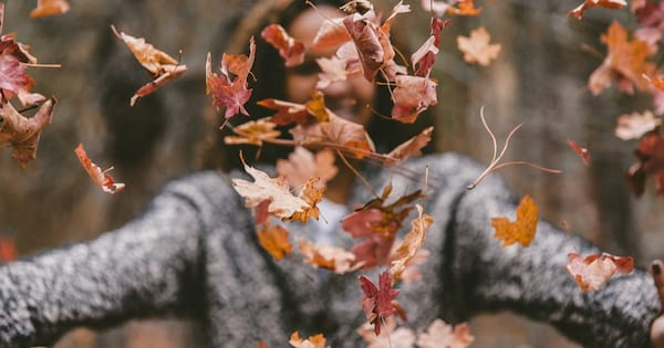 Funny fall Instagram captions, a woman of undetermined ethnicity wearing a gray sweater smiles and throws leaves in the air, culture