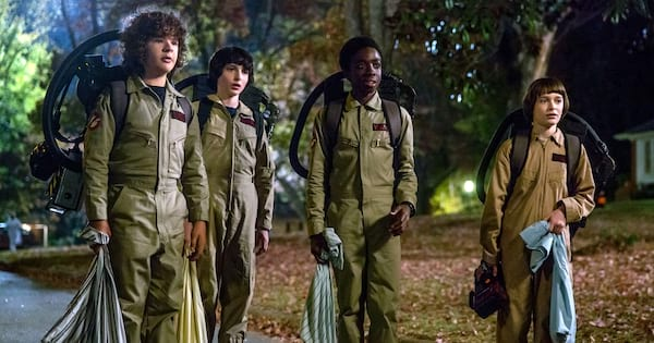 Group Costume Instagram Captions, the cast of Stranger Things dressed up as the Ghostbusters for Halloween, pop culture, tv