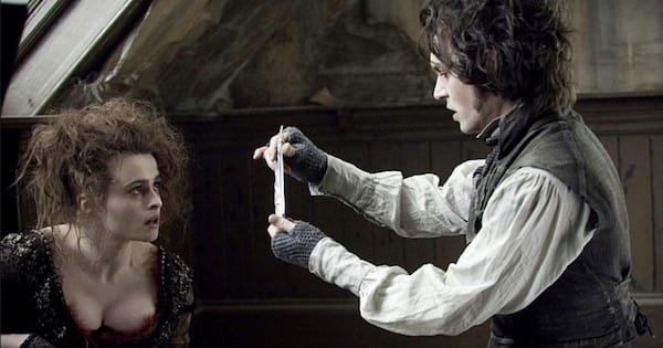 Sweeney Todd with his wife kneeling down looking at her, musical ranking