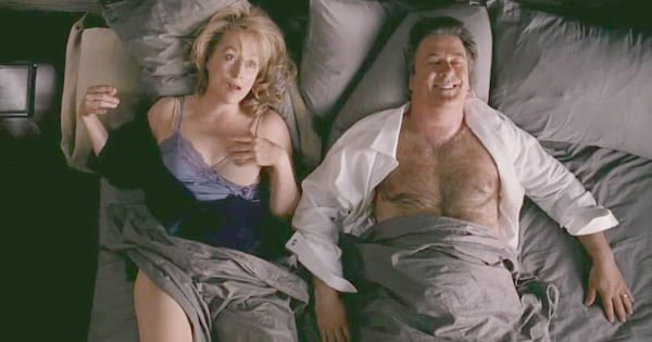 Meryl Streep and Alec Baldwin in bed together in the movie It's Complicated