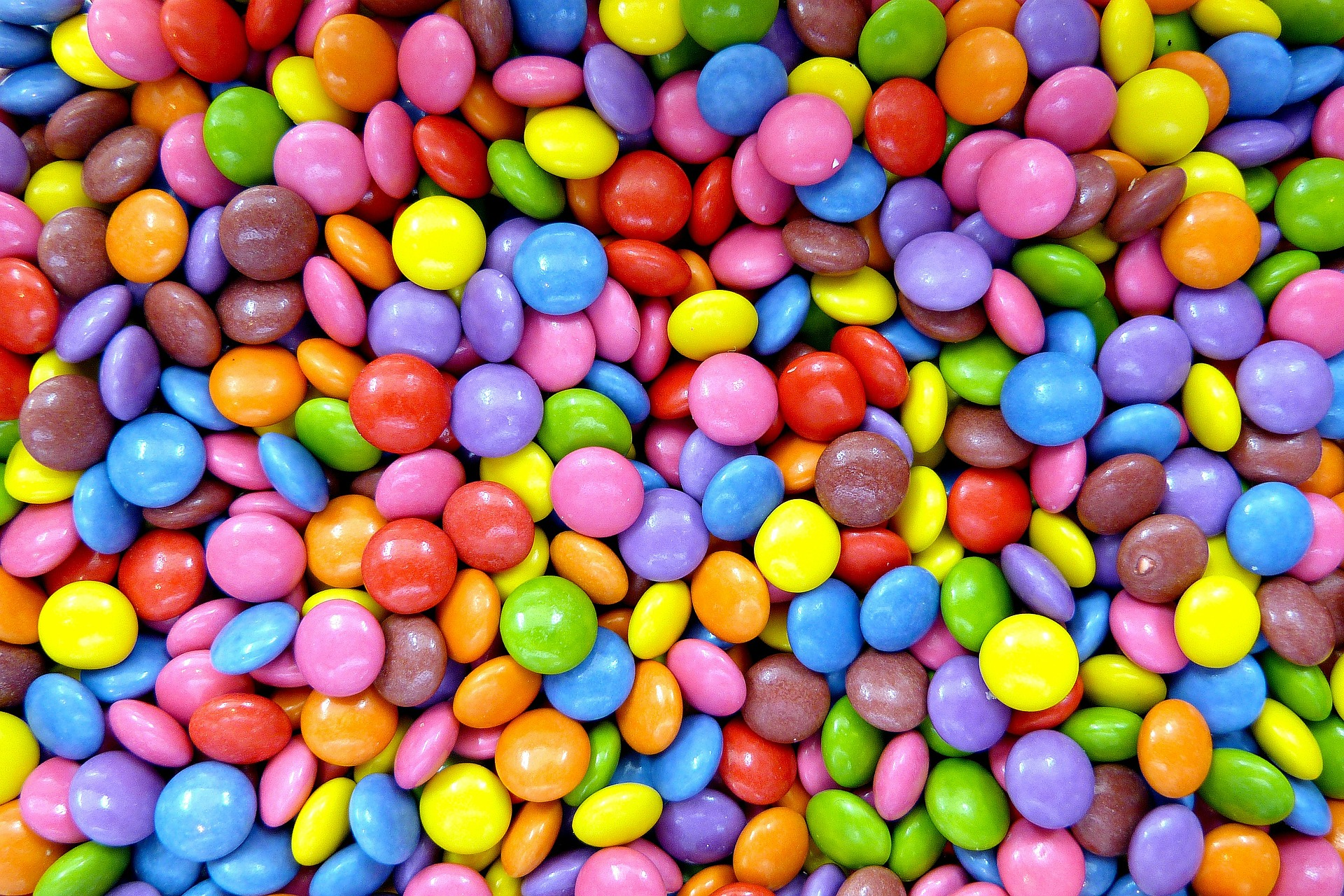 Multi-colored Smarties candy.