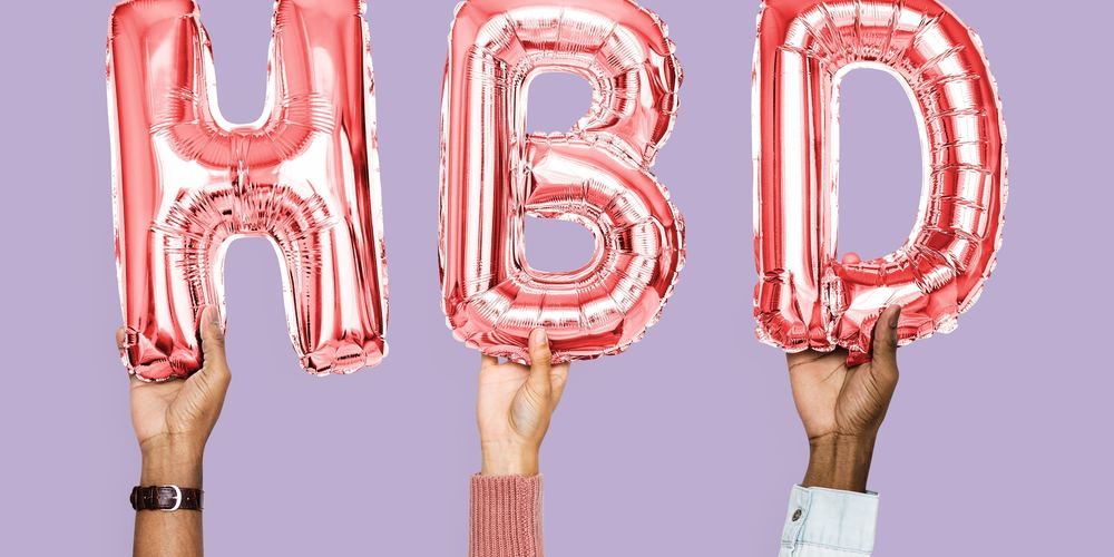Three people holding pink HBD happy birthday balloons in the air, 18th birthday Instagram captions