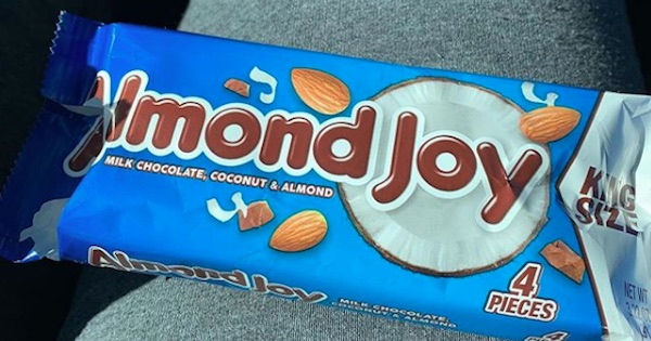 Almond Joy king size wrapper opened, halloween candy ranking