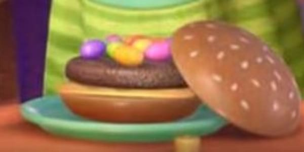 A play hamburger from Pixar's Toy Story 3, movies