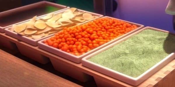 A buffet line of sushi ingredients from Pixar's Cars 2, movies