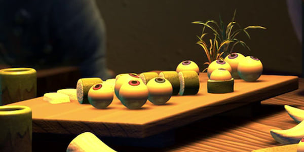 A tray of sushi materials from Pixar's Monster's Inc., movies