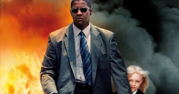 black man carrying young white girl through fire wearing sunglasses and suit Man on Fire, movie