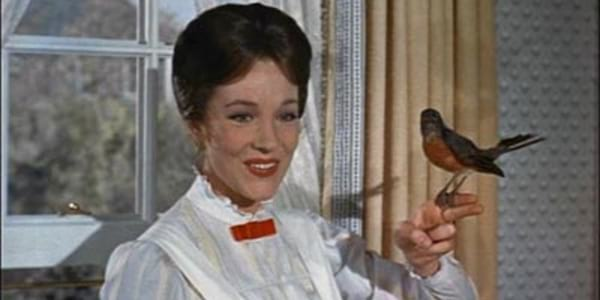 Mary Poppins holding a Robin on her finger in Disney's Mary Poppins, movies