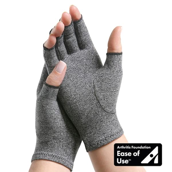 Arthritis Products, closeup of someone wearing arthritis compression gloves, health
