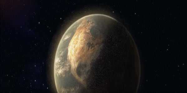 An earth covered by trash seen from space  in Pixar's WALL-E movie, movies
