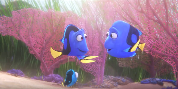 Baby Dory from Pixar's Finding Dory looking at her parents in a colorful coral reef, movies