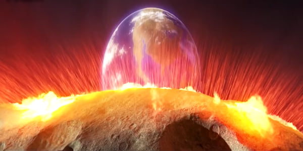 A flaming asteroid headed towards earth from the opening scene in Pixar's The Good Dinosaur, movies