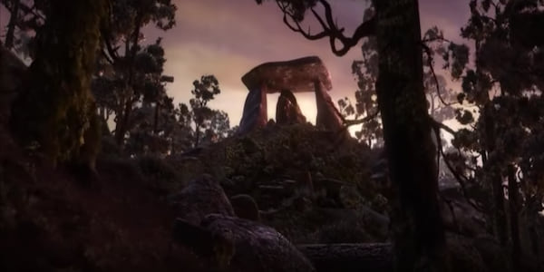 A Stonehenge seeming structure silhouetted against the sunset in the opening of Pixar's Brave, movies