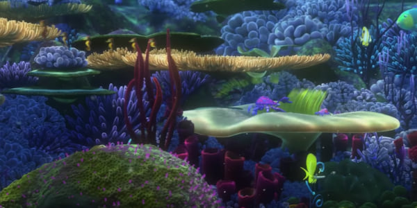 An underwater look at colorful fish and corals at the beginning of Pixar's Finding Nemo, movies