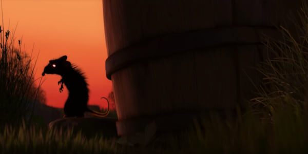 A rat with glowing eyes silhouetted against the sunset at the opening of Pixar's Ratatouille, movies