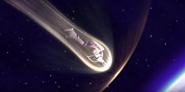 Buzz Lightyear surrounded by heat and light as he flies to earth in Pixar's Toy Story 2, movies