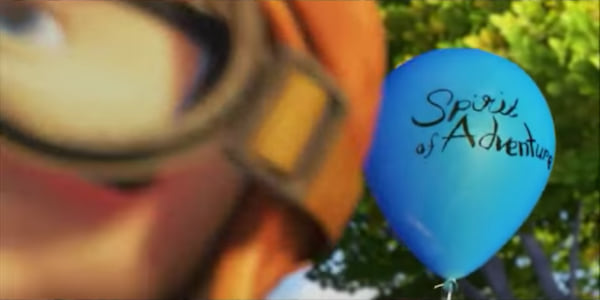 A young Carl Fredricksen holding a blue Spirit of Adventure balloon in the beginning of Pixar's Up, movies