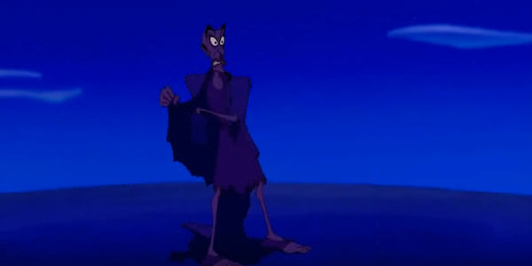 Jafar revealing himself to be an old man at the Cave of Wonders in Disney's Aladdin, movies