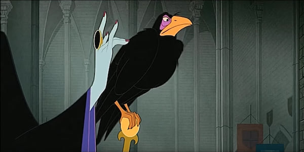 Diablo the raven sits on Maleficent's staff and she pets him in Disney's Sleeping Beauty, movies