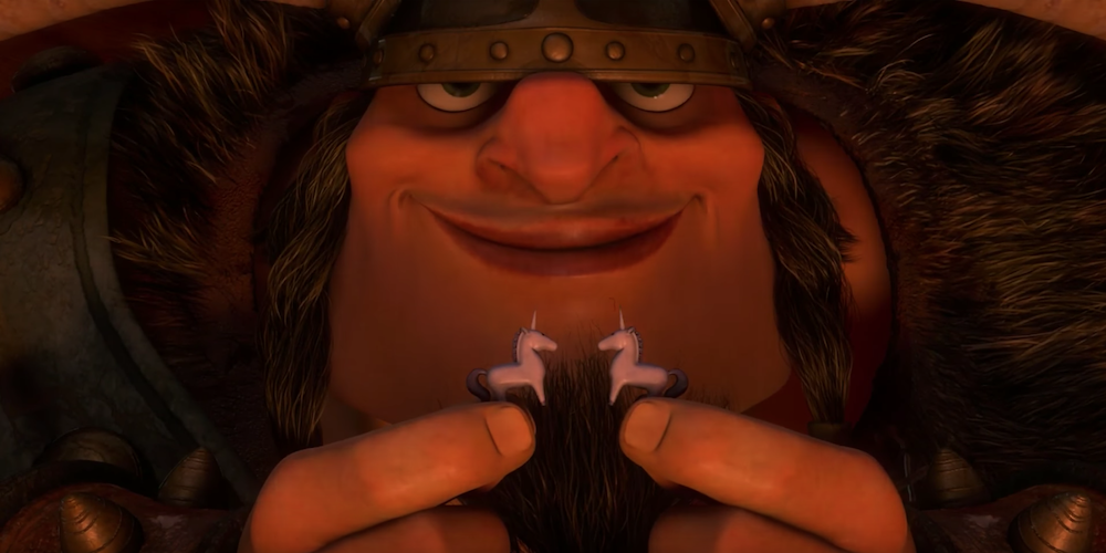 Vlad from Disney's Tangled shows off his two, small, ceramic unicorns with a smile, movies