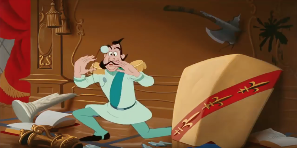 The Grand Duke from Disney's Cinderella looks wide-eyed as he loses his monocle, movies