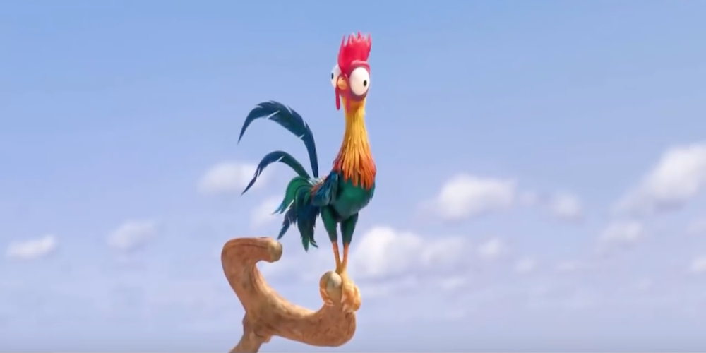 Hei Hei from Disney's Moana stands alert on top of a wooden staff, movies