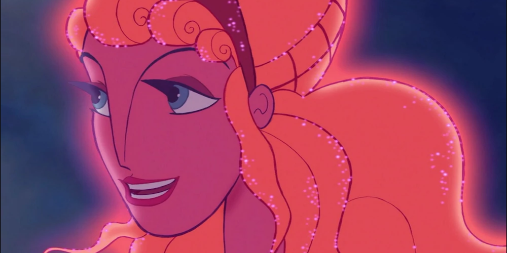 Hera from Disney's Hercules glows with a pink light and smiles, movies