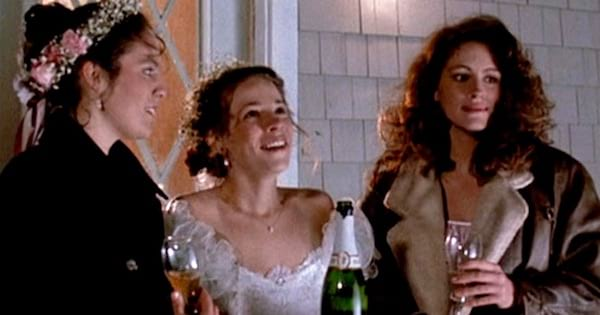 Mystic Pizza young women holding glasses of champagne, Julia Roberts movies rank