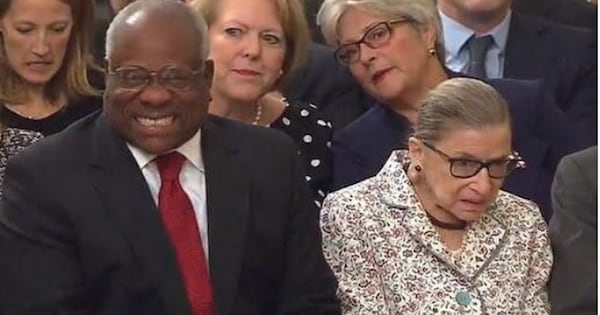 Justice Clarence Thomas with Ginsberg, ranking