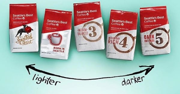 bags of Seattle's Best Coffee from light to dark, ranking