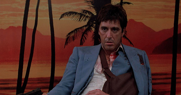 scarface sitting down against tropical bathroom, movies ranking