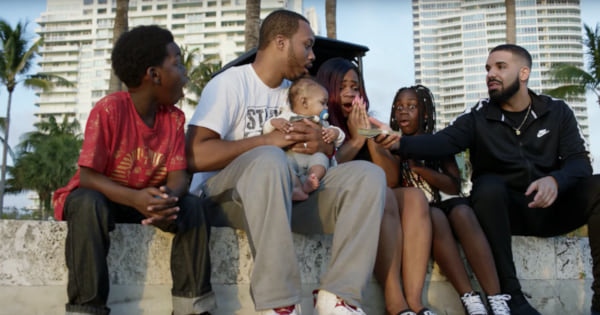 God's Plan Lyric Instagram Captions, image from Drake's music video God's Plan in which he is handing money to a family, pop culture, Music, celebs