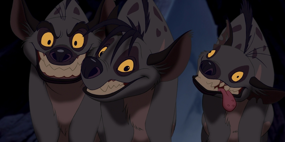 Ed, shenzi, and Banzai from Disney's The Lion King standing together, movies