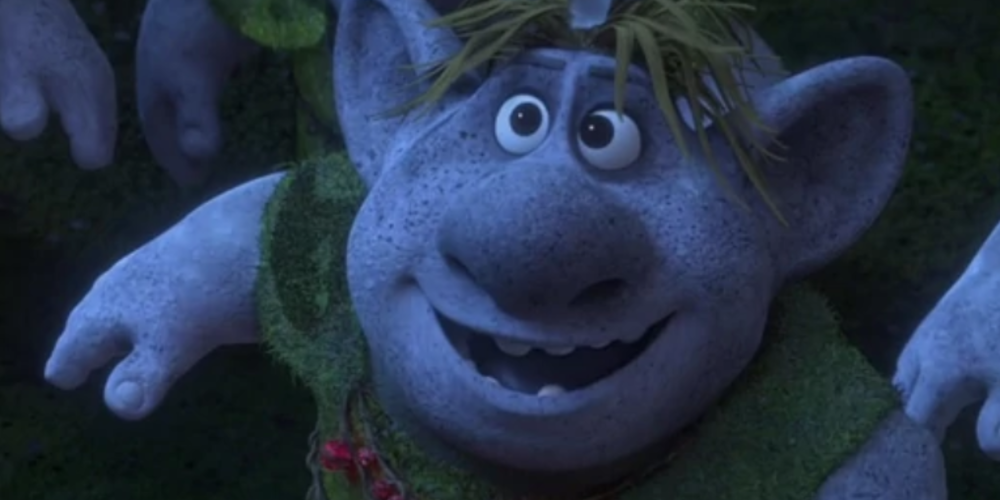 Bulda a troll from Disney's Frozen looks up and smiles, movies