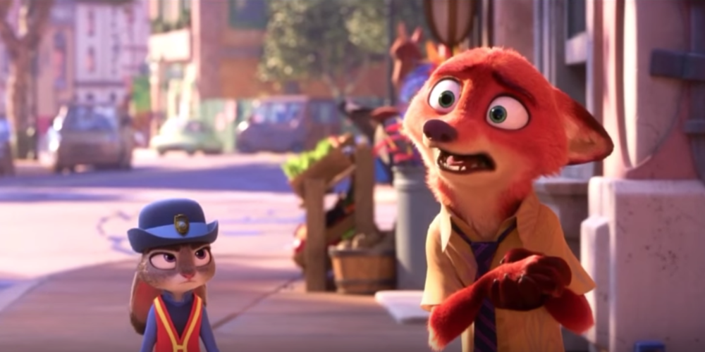 Judy Hopps and Nick Wilde from Disney's Zootopia walking together on the sidewalk, movies
