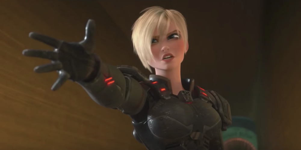 Sgt Calhoun from Disney's Wreck It Ralph holding her arm and hand out, movies