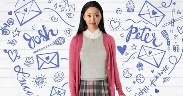 Lara Jean standing in front of scribbled paper wall, Netflix movies