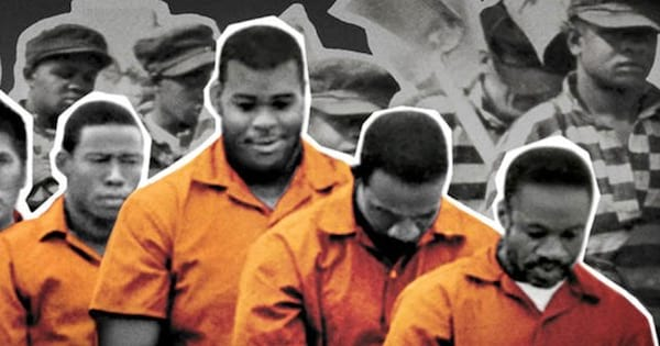 prisoners in orange jumpsuits on black and white collage background, Netflix movies