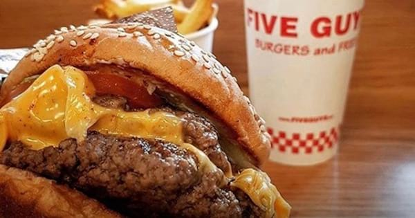 five guys burger and cup, food