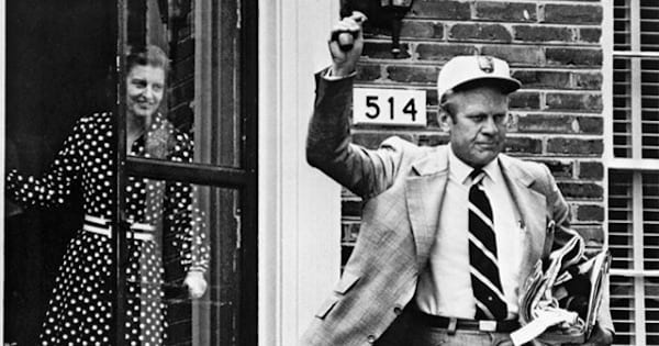 president gerald ford waving his hand on his first day of presidency