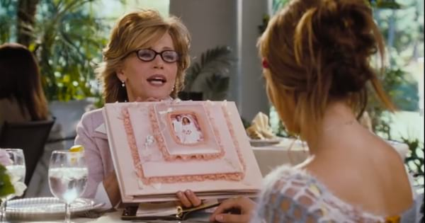 Jane Fonda showing off her wedding photos to Jennifer Lopez in the movie Monster-in-Law (2005)