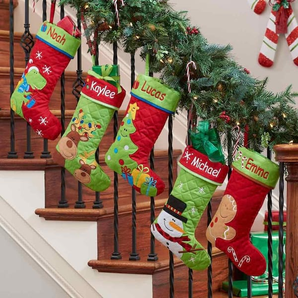 Personalized reindeer buddies quilted Christmas stocking from Amazon