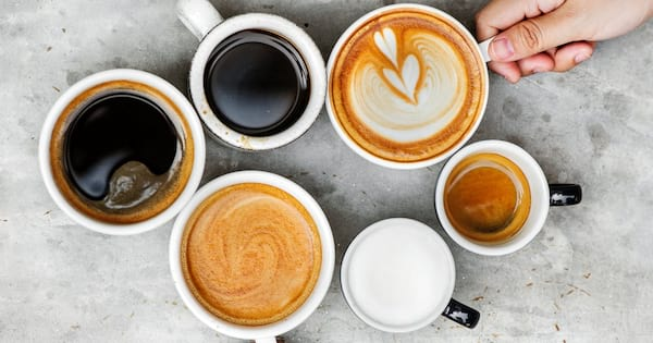 What's the Deal with Caffeine, various sized mugs of coffee, health, food & drinks